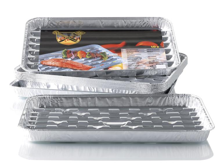 10 plateaux en aluminium pour grillades