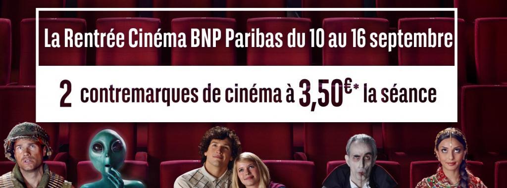 2x Contremarques Cinéma BNP Paribas : La séance à 3.5€ entre le 10 et le 16 septembre