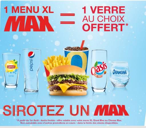 Un Menu XL ou Cheese Max acheté = Un verre offert