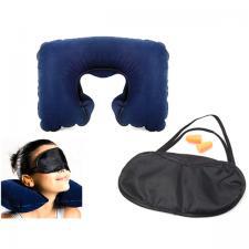 Set de voyage 3 en 1 coussin gonflable + masque pour les yeux + 2 boules Quies