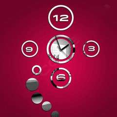 Horloge Murale Design - Effet miroir - 40x60cm