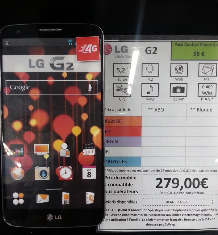 Smartphone LG G2 Noir ou Blanc