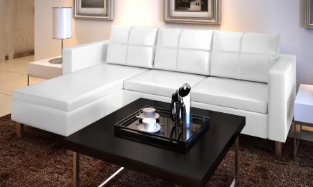 Canapé d'angle blanc (194 x 127 x 60 cm)