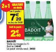 Lot de 3 packs de 6 bouteilles de Badoit  (3*6 bouteilles de 1 litre)