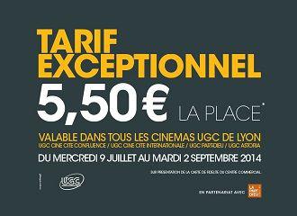 Place de cinéma UGC sur présentation de la carte de fidélité de Confluence / La part dieu (gratuite)
