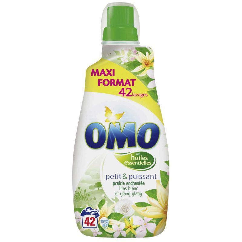 2x Lessive liquide Omo Lilas blancs & ylang ylang ou fleurs tropiques 1.47 L