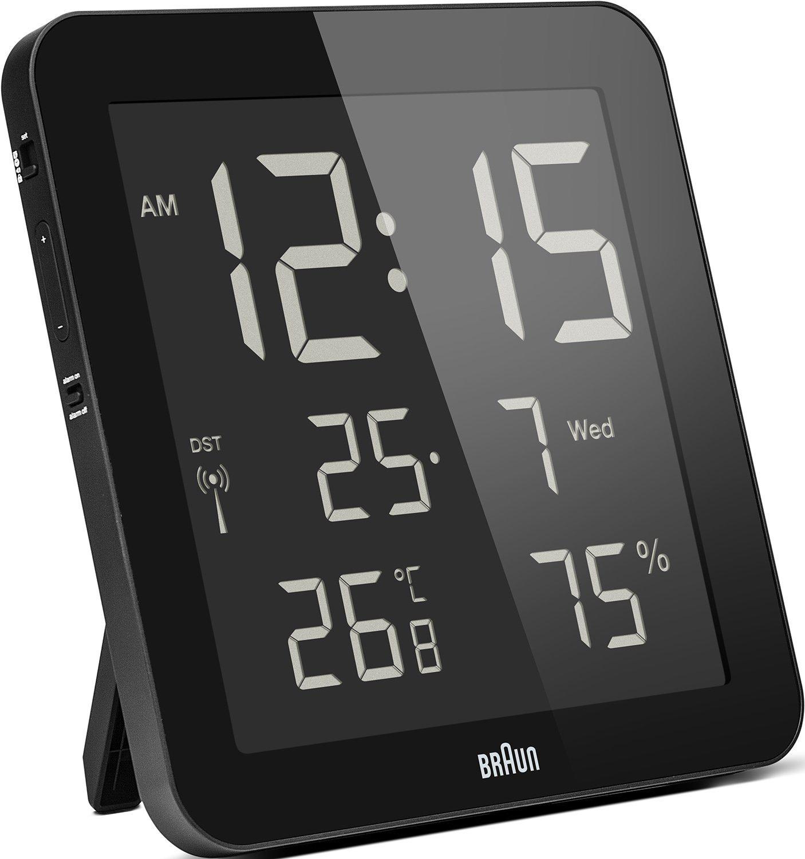 Horloge murale Braun BNC014BK (Heure radio-pilotée, calendrier, alarme, température et hygrométrie intérieures)
