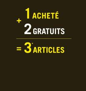 1 article acheté = 2 articles offerts !