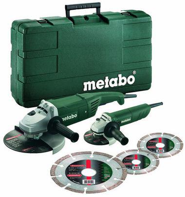 Lot de 2 Meuleuses PRO Metabo Combo-Set 230mm / 125mm + 3 meules de tronçonnage diamantées
