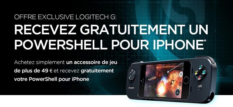 Manette Logitech Powershell pour iPhone (valeur de 69€) offerte pour tout achat d'accessoires de jeu de plus de 49€
