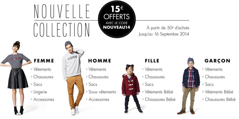 15€ de réduction dès 50€ d'achat sur la nouvelle collection mode