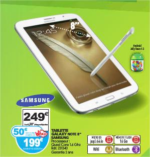 "Tablette 8"" Samsung Galaxy Note 8.0 16 Go - Blanc (avec 50€ sur la carte Waaoh)"