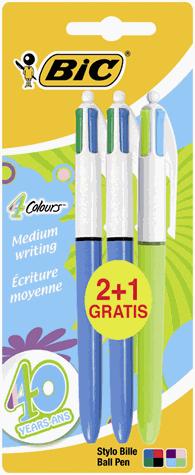Lot de 20 stylos Bic à 1.33€ ou 3 stylos Bic 4 couleurs