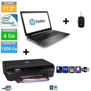 """PC portable 17.3"""" HP Pavilion 17-f089nf + Imprimante HP Envy 4502 + Souris (avec ODR 100€)"""