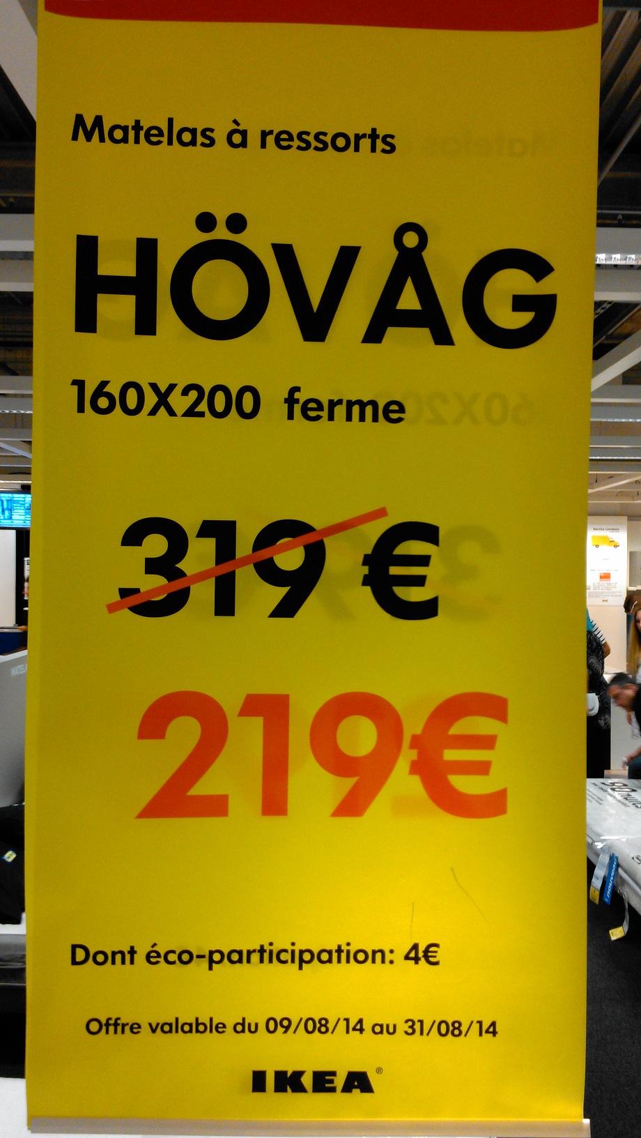 Matelas Ikea Hövâg à ressorts ensachés 160x200 ferme