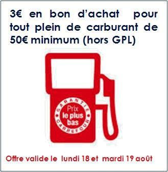 3€ offerts en bon d'achat valable dès 50€ dépensés en carburant