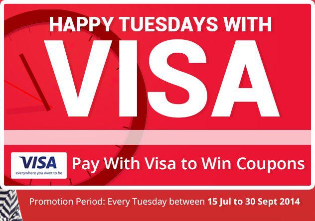 10$ offert en coupon tous les Mardis en payant par CB Visa pour un minimum de 60$ d'achat