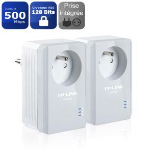 2 Mini Adaptateurs CPL TP-Link TL-PA4015PKIT - 500 Mbps avec prise intégrée, 1 port Ethernet