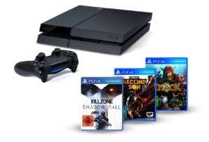 Console PlayStation 4 + 3 jeux (Killzone Shadow Fall, Knack et inFamous Second Son)+ -20€ sur 4ème jeu