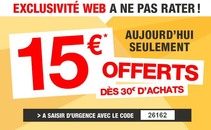 -15€ de réduction dès 30€ d'achats