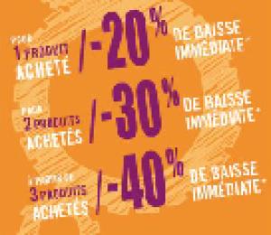 1 produit -20%, 2 produits -30%, 3 produits -40% de réduction immédiate en caisse