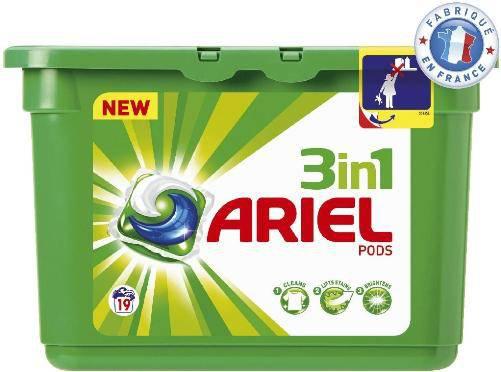 3 boîtes de lessive 19 lavages Ariel 3en1 pods