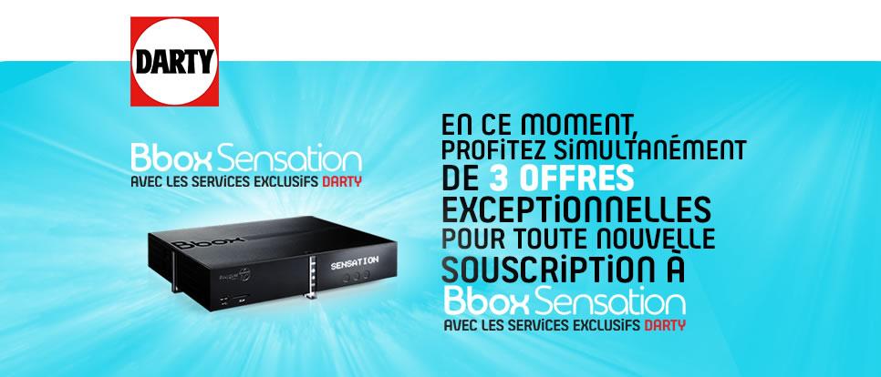 2 mois offerts à BBOX Sensation Edition Darty + Carte cadeau de 100€ Offerte + Pendant 1 an l'abonnement / mois
