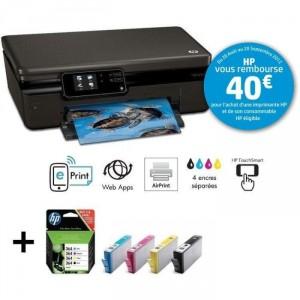Imprimante HP Photosmart 5510 + Pack cartouches - Avec ODR (-40€)