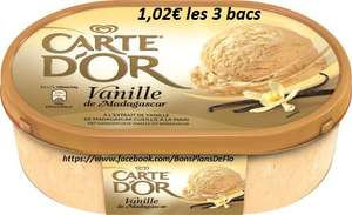 3 Bacs de crème glacée ou sorbet Carte d'Or