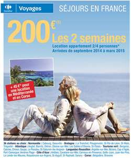 2 semaines de vacances en France entre le 09/14 et 03/15, à partir