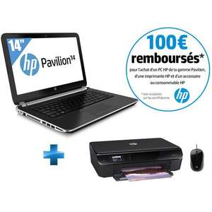 Pack PC portable HP Pavillon 14-N248SF + Imprimante Envy 4500 + Souris filaire H