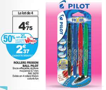 4 stylos Pilot FriXion (avec 50% sur votre carte Waaoh)
