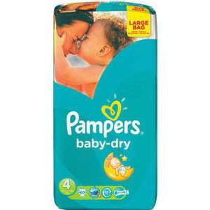 Paquet 60 couches Pampers Baby Dry (avec 60% remboursés sur la carte fidélité)