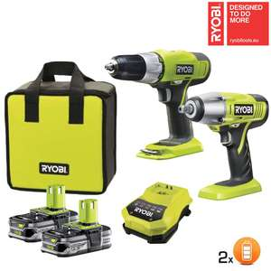 Pack pro  Ryobi One perceuse visseuse 18V + boulonneuse 18V + 2 batteries Lithium