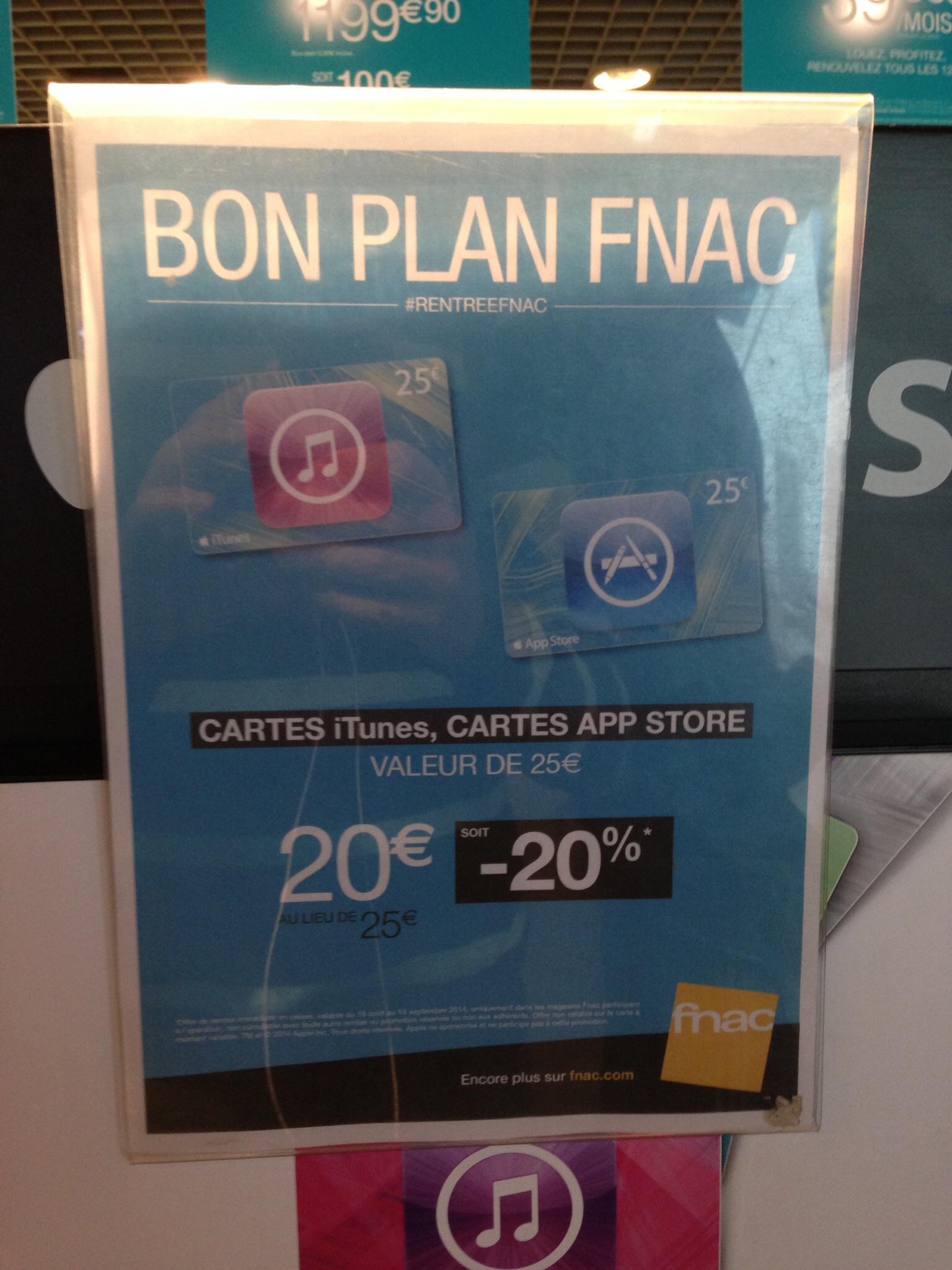 Carte itunes / app store d'une valeur de 25€