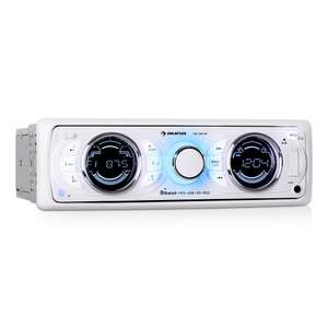 Autoradio Auna MD-170-BT - Bluetooth, radio FM, ports USB SD compatibles MP3 et lumière colorée - Blanc