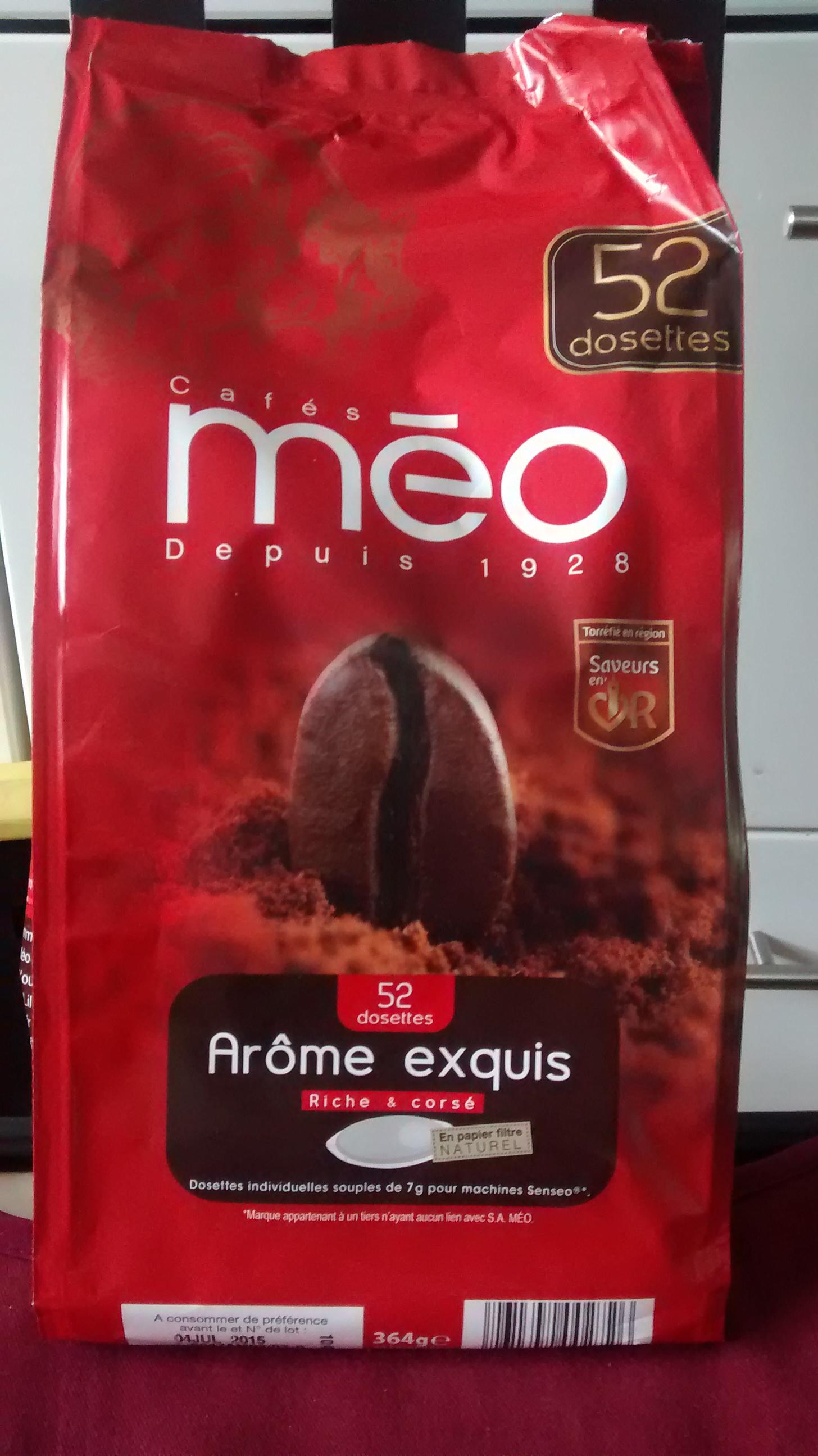 Lot de 2 sachets de 52 dosettes de café MEO