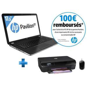 Pack PC Portable HP Pavilion 17-E127SF  + Imprimante HP Envy 4500 + Souris filaire HP