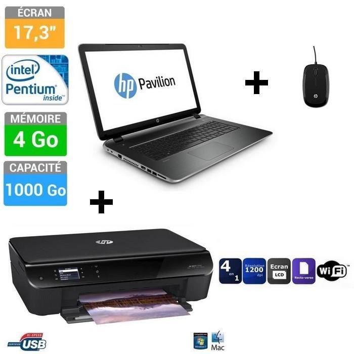 PC portable HP Pavilion 17-f089nf + imprimante HP Envy 4502 + souris (avec ODR de 100€)