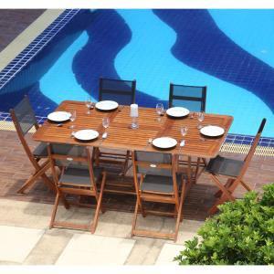 Table extensible rectangulaire 120 / 180cm en eucalyptus FSC + 6 chaises avec l'assise et dossier en textilène