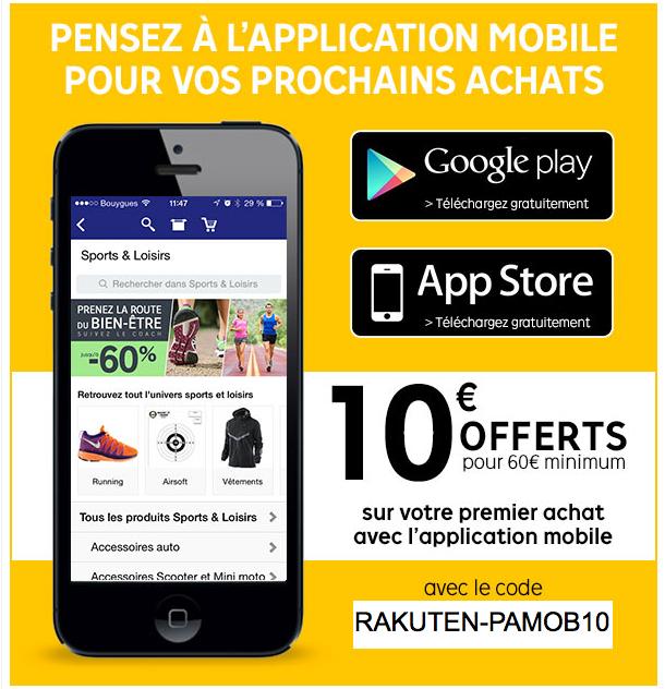 10€ offerts pour 60€ d'achats avec l'application mobile