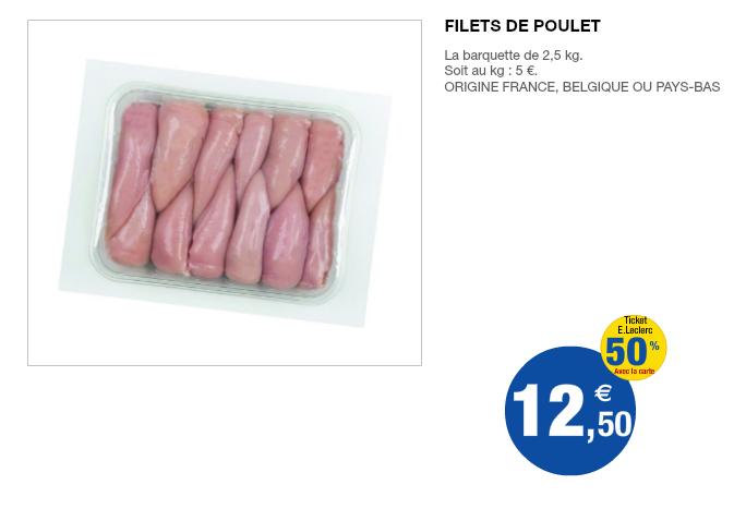Barquette 2,5Kg de filet de poulet (50% sur la carte)