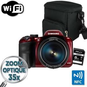 Appareil photo Samsung WB1100F Bridge Rouge + Etui + carte SD 8 Go
