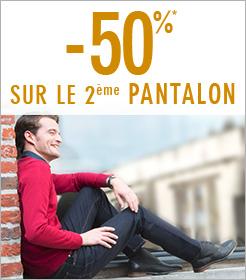 50% de réduction sur le 2ème pantalon (parmi une sélection)
