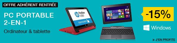 """[Offre Adhérents] -15% sur les PC 2 en 1 - Ex : Tablette Asus T100TA-DK024H 10"""" 64 Go W8 + Housse à 297.76€"""