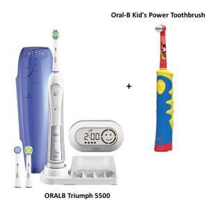 Pack brosse à dent électrique Oral B Triumph 5500 + Kid's Power