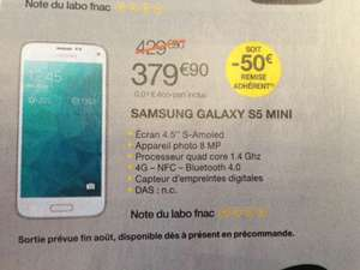 [Offre Adhérent] Smartphone Samsung Galaxy S5 Mini (-50€ de remise adhérent)