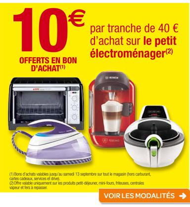 10€ offerts en bon d'achat par tranche de 40€ d'achat sur le petit électroménager