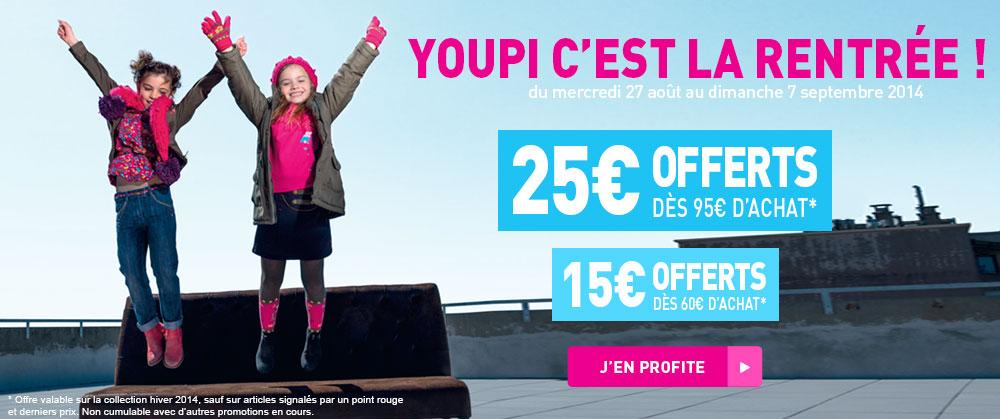 - 15 € dès 60 € d' achat ou - 25 € / 95 € ou  - 30 € / 120 €