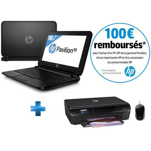 Ultra Portable 10,1' HP  Pavilion 10-F100NF + Imprimante HP Envy 4500 Wi-Fi + Souris HP + Bon d'achat de 50€ valable dès 150€ (ODR de 100€)